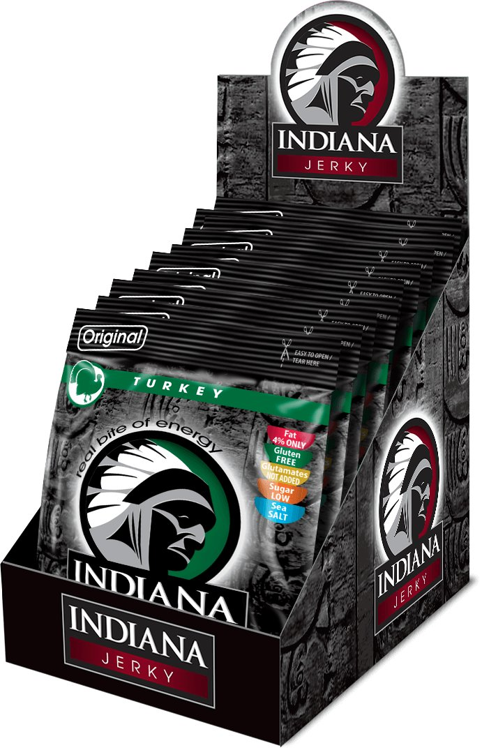 INDIANA Jerky krůtí, Original, 250g - display