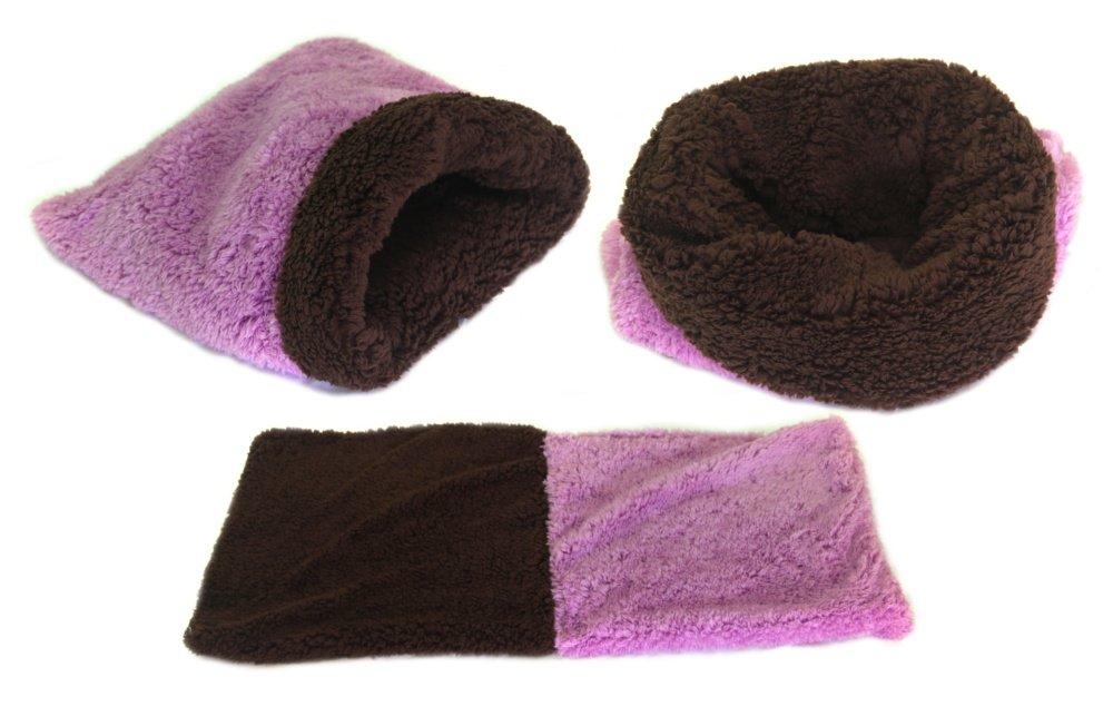 Marysa pelíšek 3v1 pro štěňátka/koťátka, DE LUXE, fialový/tmavě hnědý